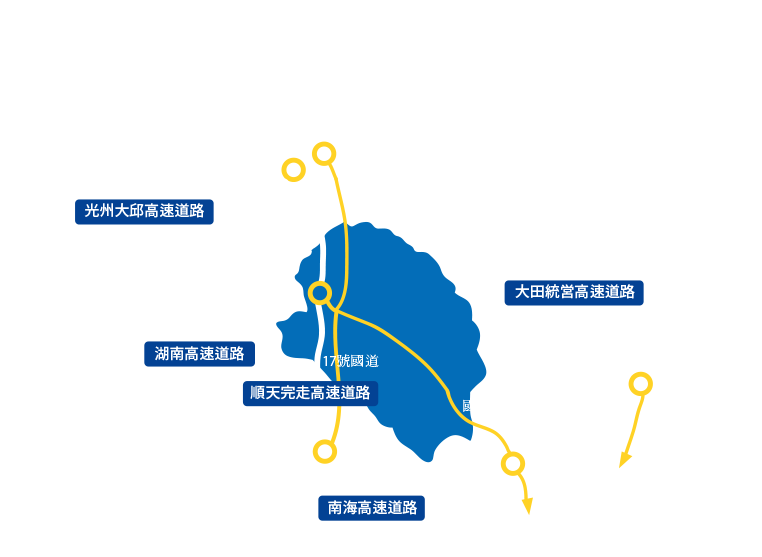 On your way to Gurye. provide information on highways and time spent in each area. It takes 3 hours for Seoul, 1 hour for Jeonju, 50 minutes for Gwangju, 1 1/2 hours for Mokpo, 2 hours for Busan, and 1 hour and 10 minutes for Daegu. For other details, refer to the passenger car information for each region at the bottom